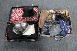 A box and case containing theatre costumes, lady's leather bags, top hat,