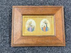 A pair of 19th century Indian gouache paintings on ivory of a nobleman and woman, framed as one.