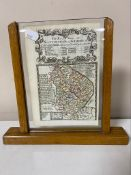 An Edwardian oak and glass photograph frame containing a hand coloured map - Nottingham to Grimsby