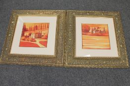 A pair of gilt framed colour prints of farm landscapes,