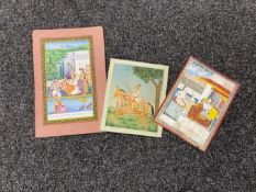 Three unframed 19th century Indian gouache paintings of courtly scenes (3)