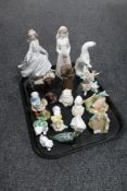 A tray of assorted figurines, Nadal, Bride, Lladro, Cinderella,