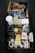 Three boxes of framed pictures, carriage clock, tea china,