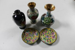 Three cloisonne vases together with two cloisonne shallow dishes