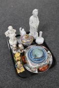 A tray of Parian figure of a girl with basket, Oriental figures,