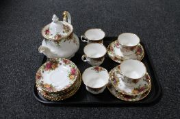 A tray of 18 piece Royal Albert Old Country Roses tea service