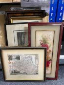 A box of framed pictures and prints, black and white and coloured engravings, framed map of Durham,