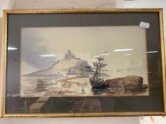 A gilt framed watercolour of a boat at low tide