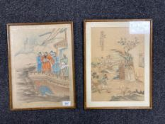 A pair of 19th century Chinese watercolours on silk depicting figures on a ship and a village scene,