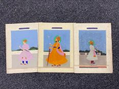 Three 19th century Indian gouache paintings of noblemen (3)