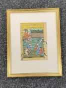 19th century Indian school, a game of polo, gouache, signed.