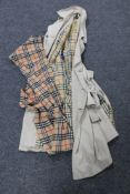 A gent's Burberry 3/4 length coat together with a scarf