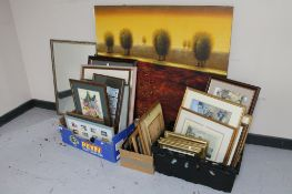 A large contemporary wall canvas together with three boxes of pictures and prints,