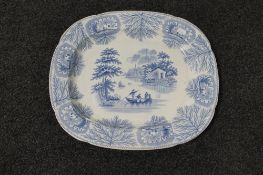A nineteenth century blue and white meat plate CONDITION REPORT: 44 cm x 37.5 cm.
