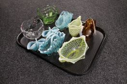 A tray of nine pieces of glass ware, basket and jug,