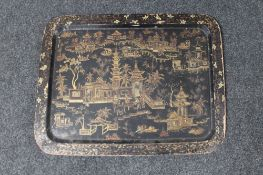 A nineteenth century Japanese lacquered tray,