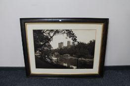 An antiquarian oak framed monochrome picture of Durham Cathedral CONDITION REPORT: