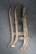 Two pairs of vintage horse hames