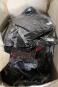 A box of Phaze canvas pin stripe dresses, petticoats,