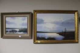 Two framed oils - lake scenes signed Ritchie