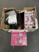 A box of beauty vanity cases, Nintendo Wii, HP mini tower,