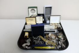 A tray of a quantity of costume jewellery, lady's wristwatches, watch straps,