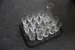 A tray of lead crystal glass,