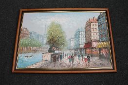 A framed oil on canvas, Parisian street scene,