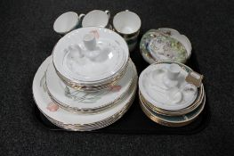 A tray of six Elizabethan Lucerne china trios, pair of Highland china candlesticks with snuffers,