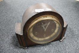 An oak cased Art Deco mantel clock