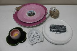 Six pieces of antique and later china - lustre tourist plates, Isle of Man teapot stand,