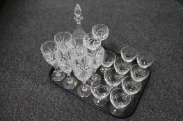 A tray of glass, Rockingham crystal wine glasses,