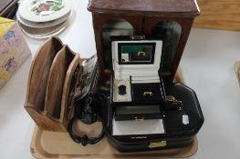 A tray of jewellery casket, letter tidy, jewellery box,
