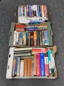Three boxes of hardback books,