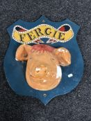 A plaster butcher's display plaque depicting a pig 'Fergie'