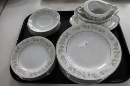 A tray of Japanese decorative floral tea china