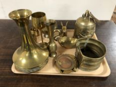 A collection of brass, rabbit figure, baluster vase, tazza, stirrup pump etc.
