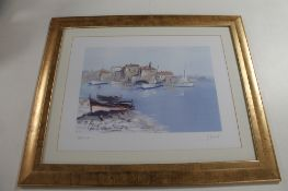A signed colour print, continental landscape,