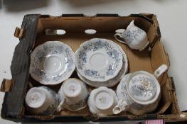 A tray of Royal Albert Silver Maple tea china