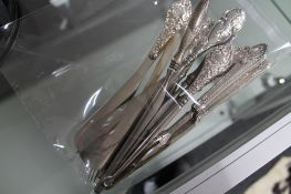 A group of silver including glove stretchers,