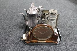 A tray of silver plated tea service, metal oil lamp,