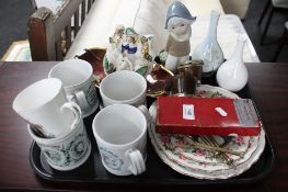 A tray of Carlton ware Rouge Royale dish, Staffordshire figure, plates,