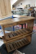 A pair of rustic pine benches