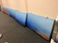 Royden Astrop, Panoramic landscape, oil on canvas, in five sections,