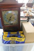 A box of wall clock, cutlery, Christmas tree decorations,