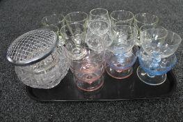 A tray of cut crystal bowl,