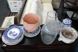 Two trays of blue and white china, biscuit jar,