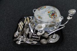 A tray of Tunstall tureen cover and plates, silver plated items,