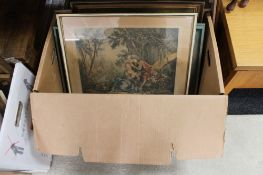 A box of continental paintings and pictures