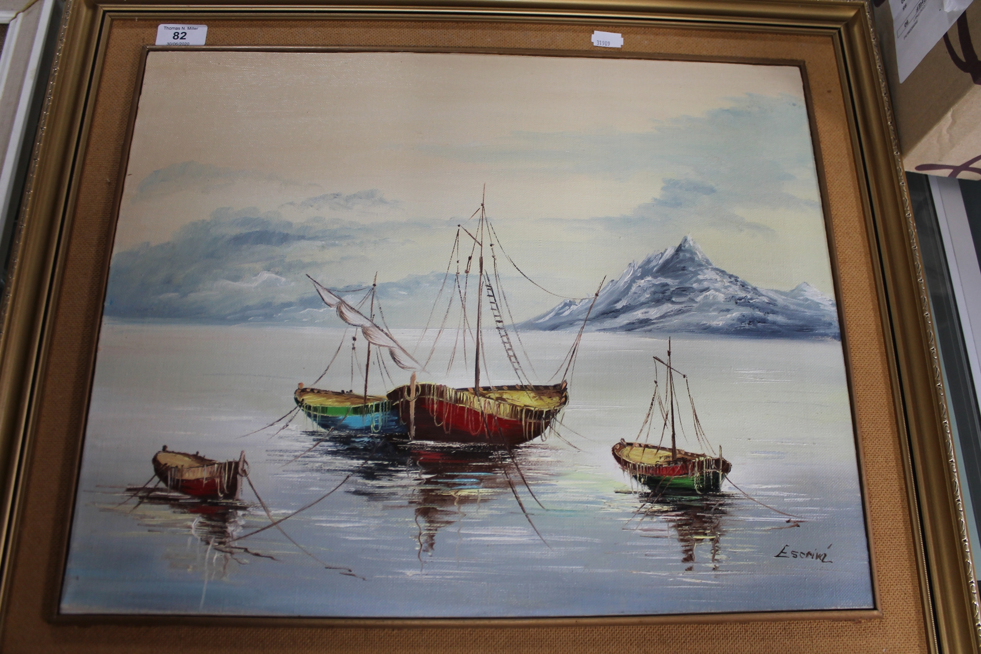 Lot 82 - Two framed continental school oils on board,